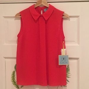 CeCe Fiery Red Sleeveless Collar Blouse